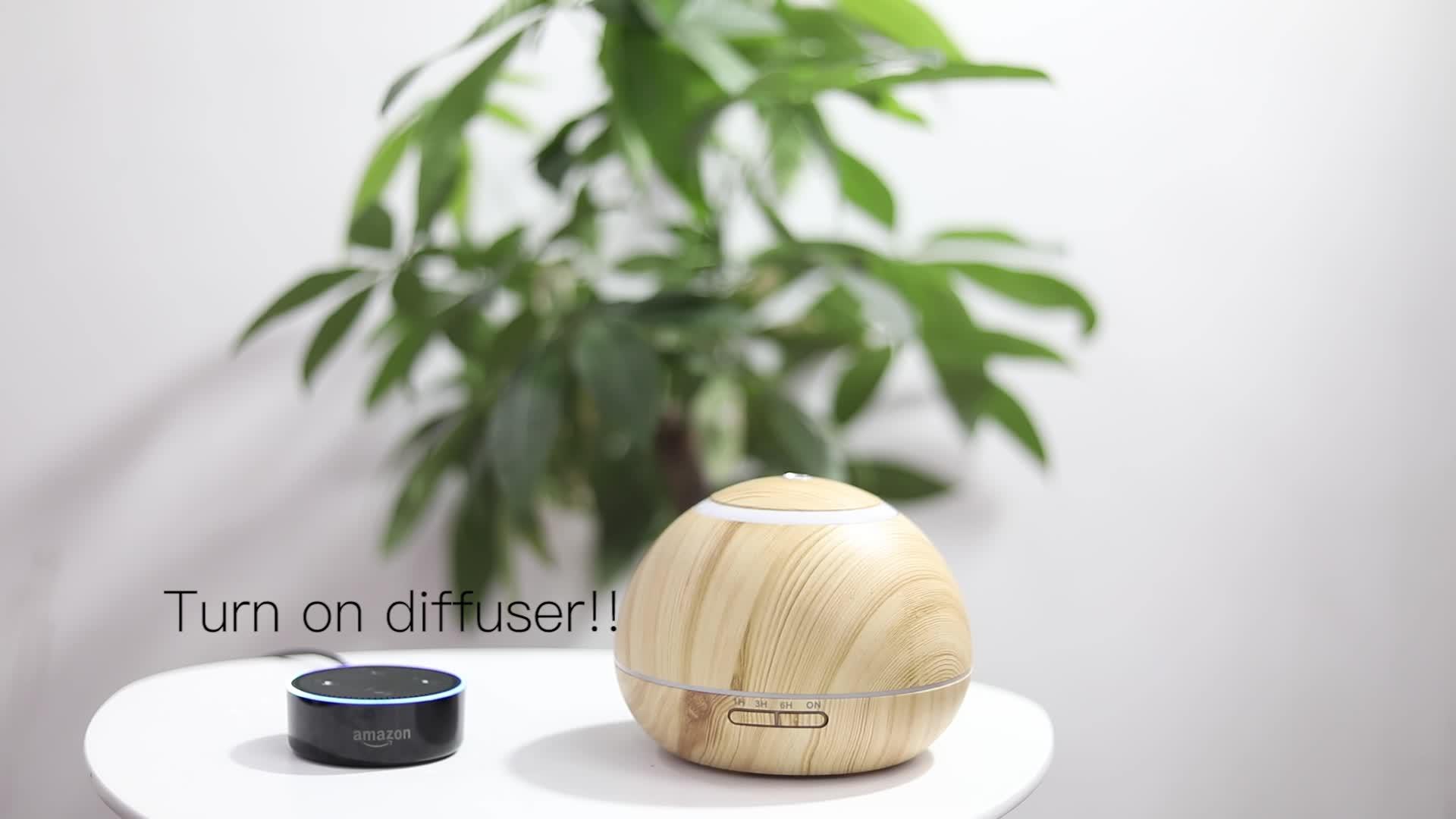 2019 12V remote control WIFI alexa light essential oil ultrasonic vibration aroma diffuser