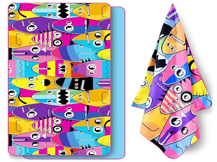 Per bambini In Cartone Pelle Scamosciata Logo Personalizzato Stampato Quick Dry In Microfibra Spiaggia Telo da bagno Set