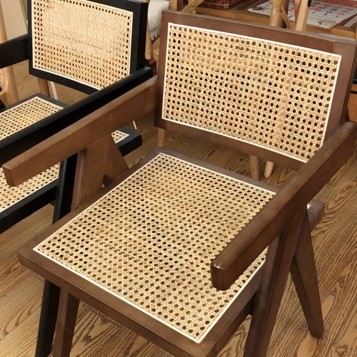Rattan arm chair  solid wood chair pierre jeanneret  cane woven chair for living room