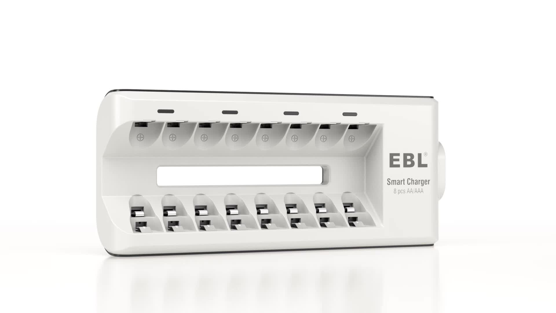 EBL Rechargeable AA AAA Battery Charger Quick Charger With 8 Bay Slot