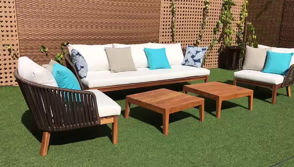 Foshan heißer verkauf verwendet hohe qualität Outdoor-Teak sofa set aluminium seil garten sofa hotel Outdoor-Teak Möbel