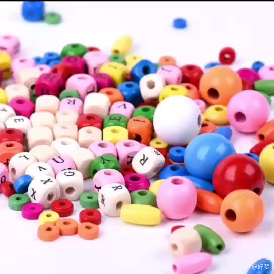 Wholesale Fashion Bulk 20mm laser logo engraved bead laser Engraved Wooden Baby Teething Beads