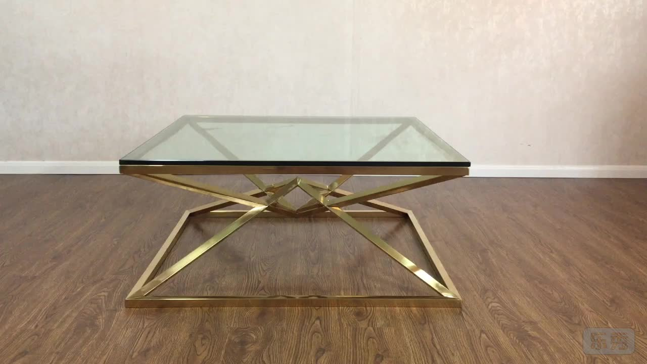 Modern glass top polished stainless steel base gold coffee table