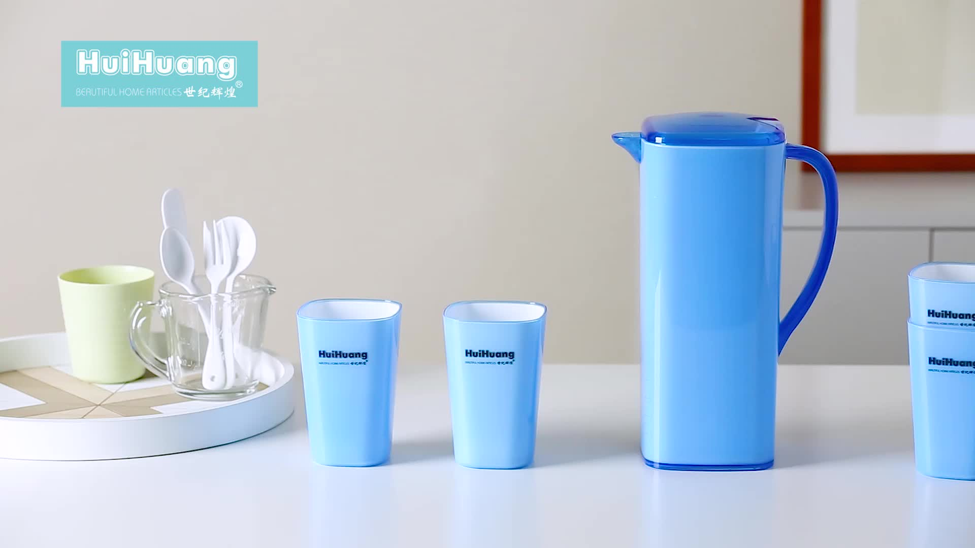 Eco-friendly custom logo restaurant home used plastic water jug set cooler water jug with 4 cups