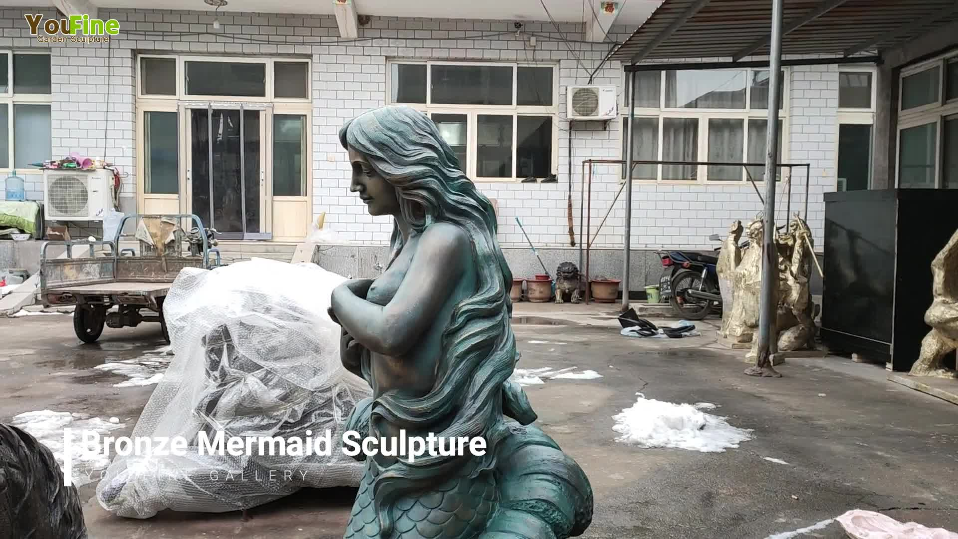 Hot Sale Life Size Bronze Mermaid Statue with Dolphin Sculpture