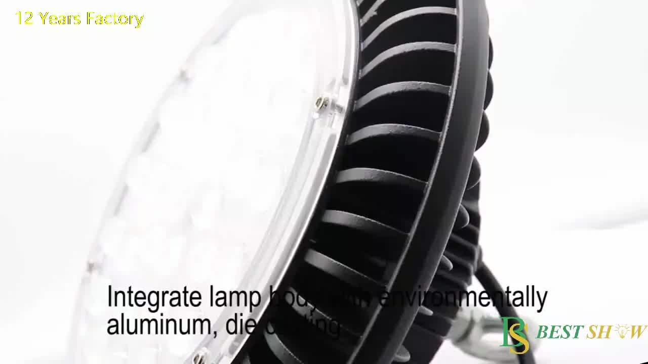 170lm/w pf0.9 ra80 IP65 kısılabilir UFO 50W 100W 150W 200W 240W 250W ufo Led yüksek raf lambası meanwell sürücü depo fabrikası