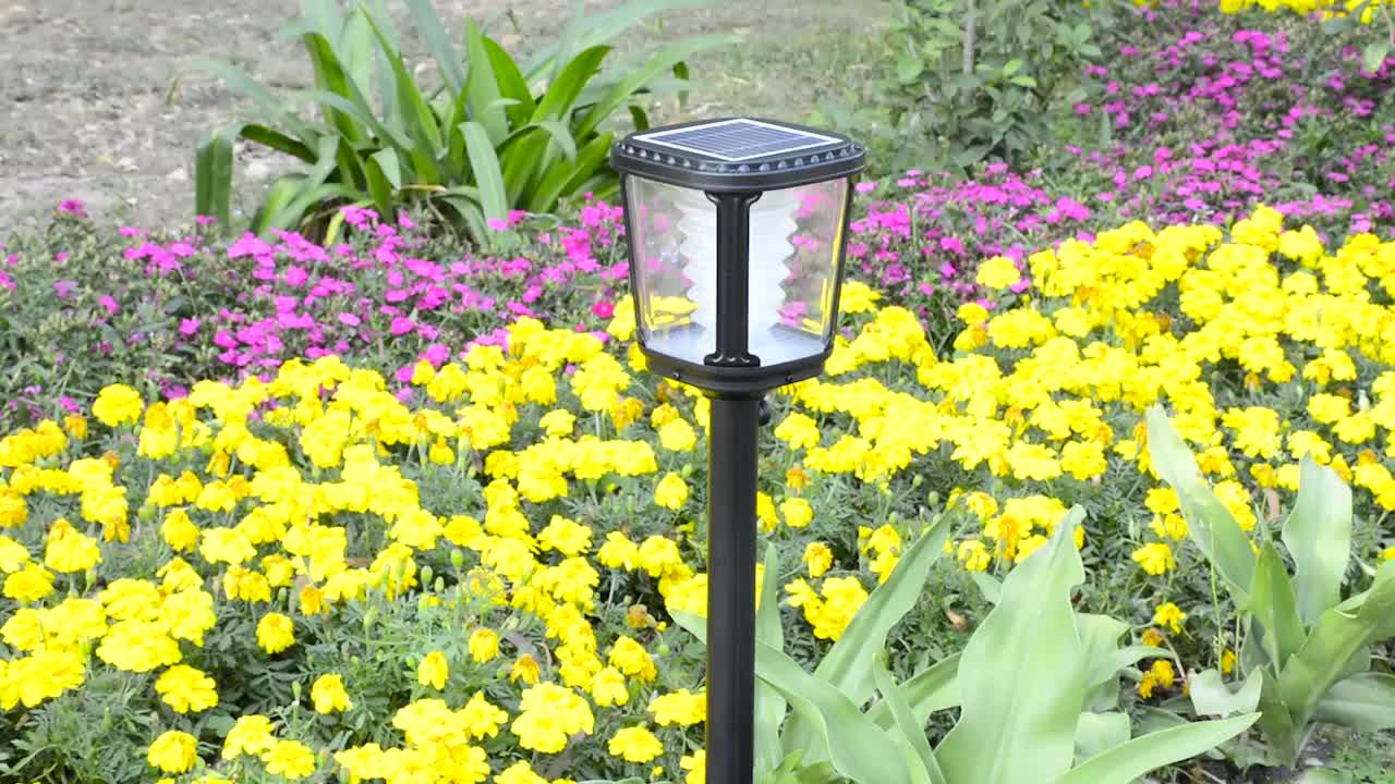 Euro gaya termurah kuning klasik halaman belakang surya led lampu taman dengan sensor gerak, guangdong pathway lampu pos 1 w