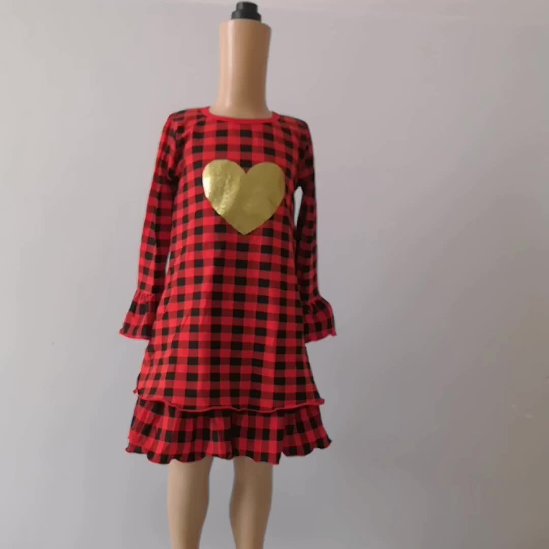 Fall Boutique Kids Clothing Wholesale Long Sleeves Red Checked Dress Christmas Baby Girl Cotton Ruffle Dress Design
