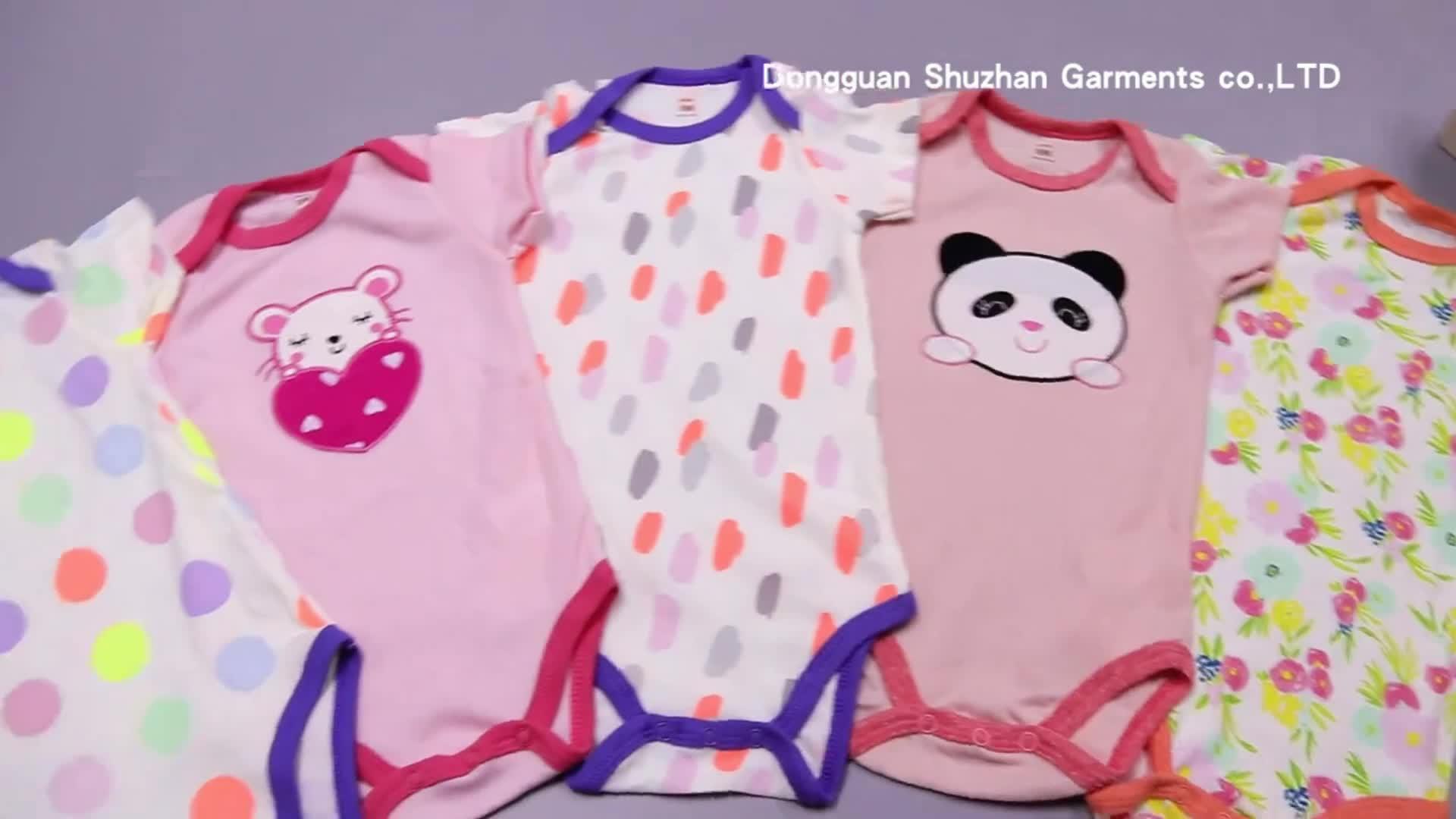 コットン半袖ベビーロンパース/パジャマパターン刺繍やプリント