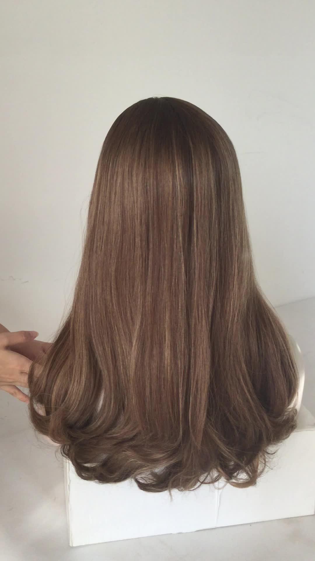 Nhất phổ biến Tối Điểm Nhấn màu nâu nâu trinh nữ Châu Âu tóc kosher wig Do Thái wig