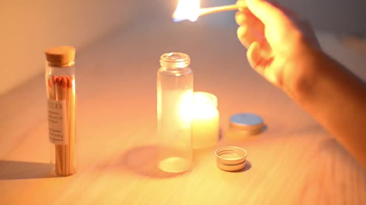 Custom Candle Cigar Lighter Matches In Glass Bottle Long Wooden Fire Kitchen Matches