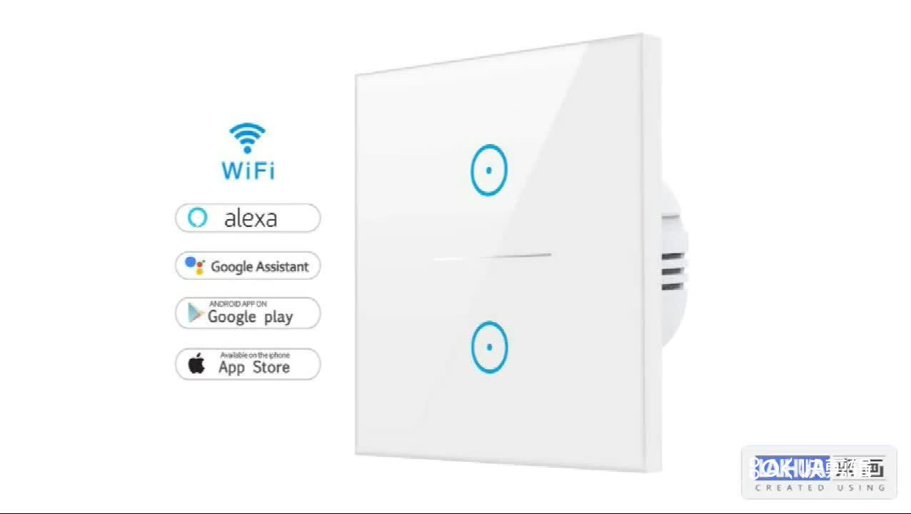 Tuya 2 Gang 2 Way Smart Wireless Wifi Light Switch UK/EU Smart Wifi Wall Switch