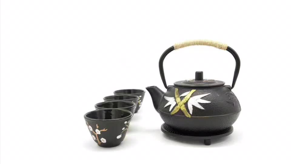 Wholesale Classical Cast Iron Tea Pot and Kettle Set with Stainless Steel Infuser