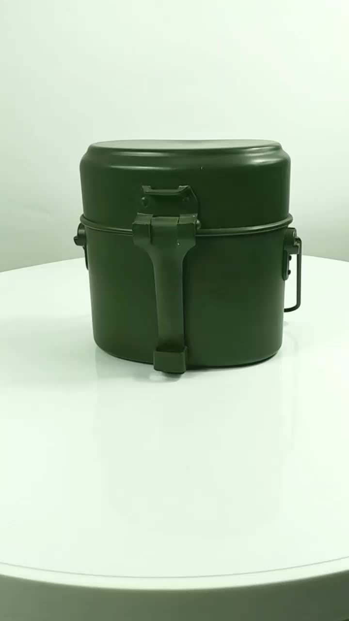 Factory Direct Sale Germany Style Aluminum Army Green Color Outdoor Camping Police Military Kit Mess Tin Set