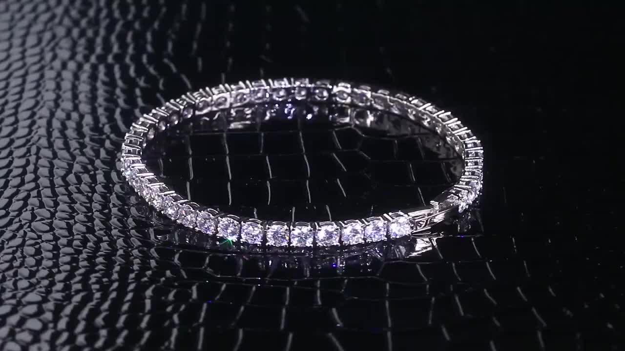 KRKC Iced Out Zircon Cubique Bracelet En Argent Sterling 925 Tennis Bracelet Femmes Hommes Diamant Bijoux 925 Bracelet en Argent Sterling