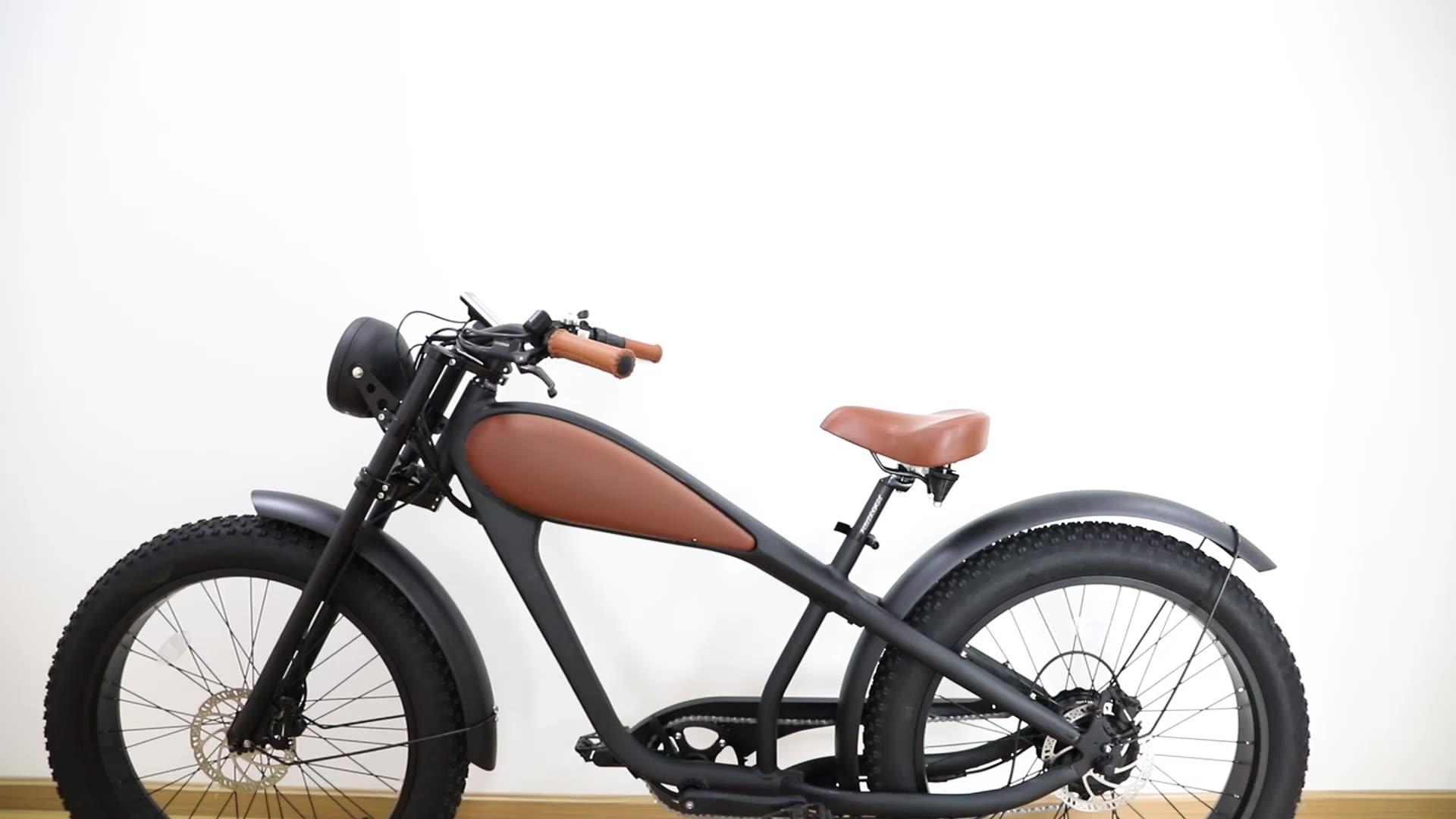 Chopper Gros vélo électrique Vintage E vélo vélo électrique Rétro 48v 750w