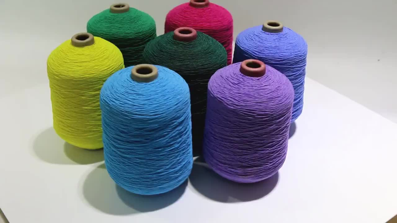 Nylon / polyester covered lycra spandex Dyed rubber thread/elastic yarn for glove