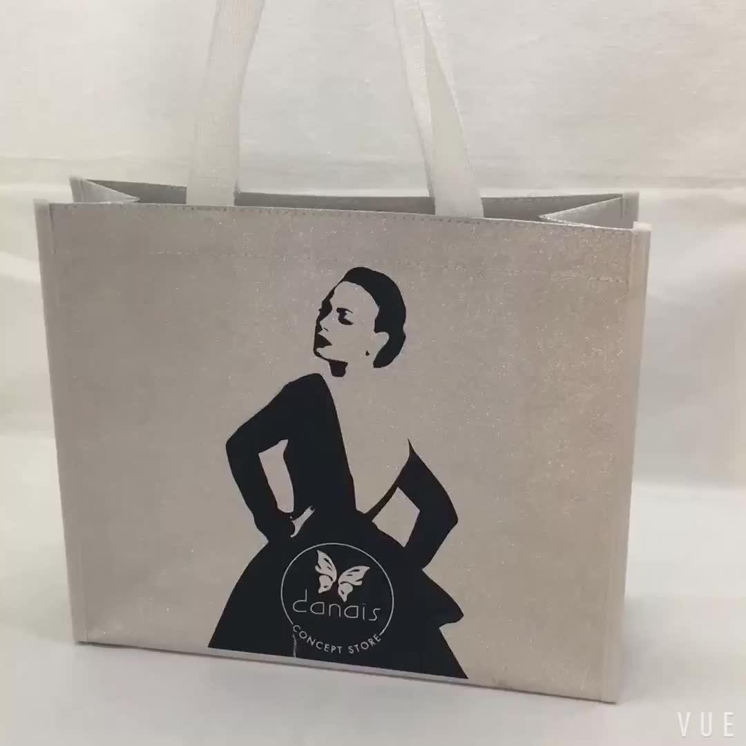 metallic laser shiny glitter laminated non woven shopping tote cloth bag
