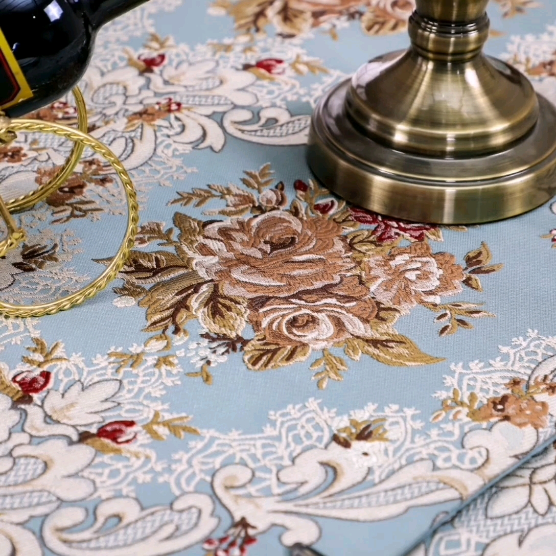 100% Polyester round table cloth for wedding fabric painting designs on table cloth