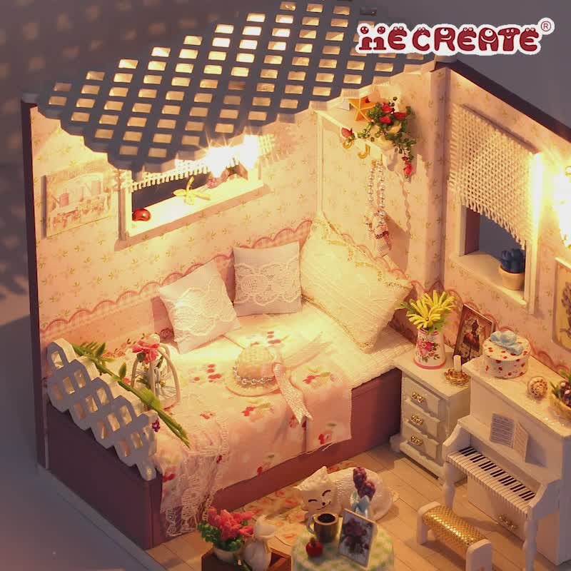 With light puzzle miniature wood craft+3d puzzle miniature wood craft mini doll house