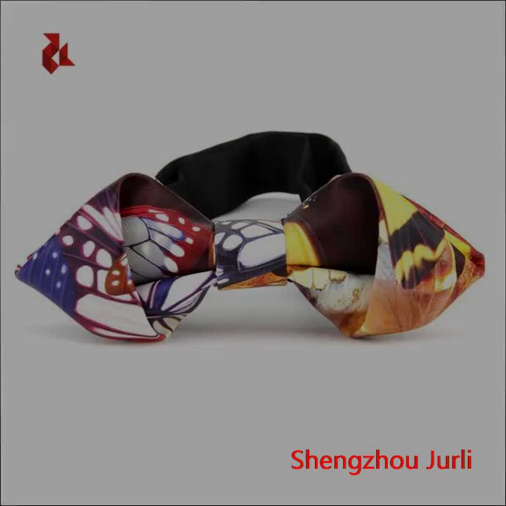 Mens Floral Leather Print Shape End Bow Ties