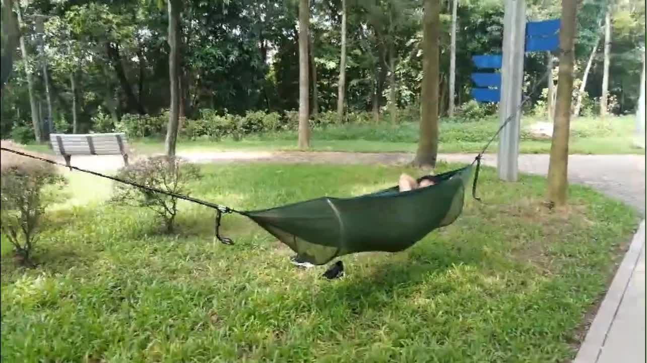 OEM Wholesale Portable Parachute Nylon Outdoor Camping Hammock with Mosquito Net