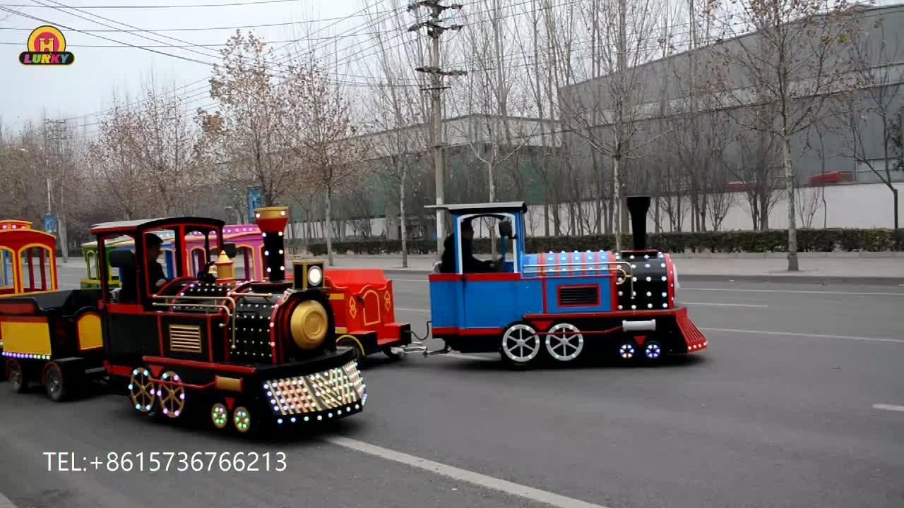 屋内アミューズメント乗車カーニバル列車乗車、無軌道列車バッテリーで動作モール