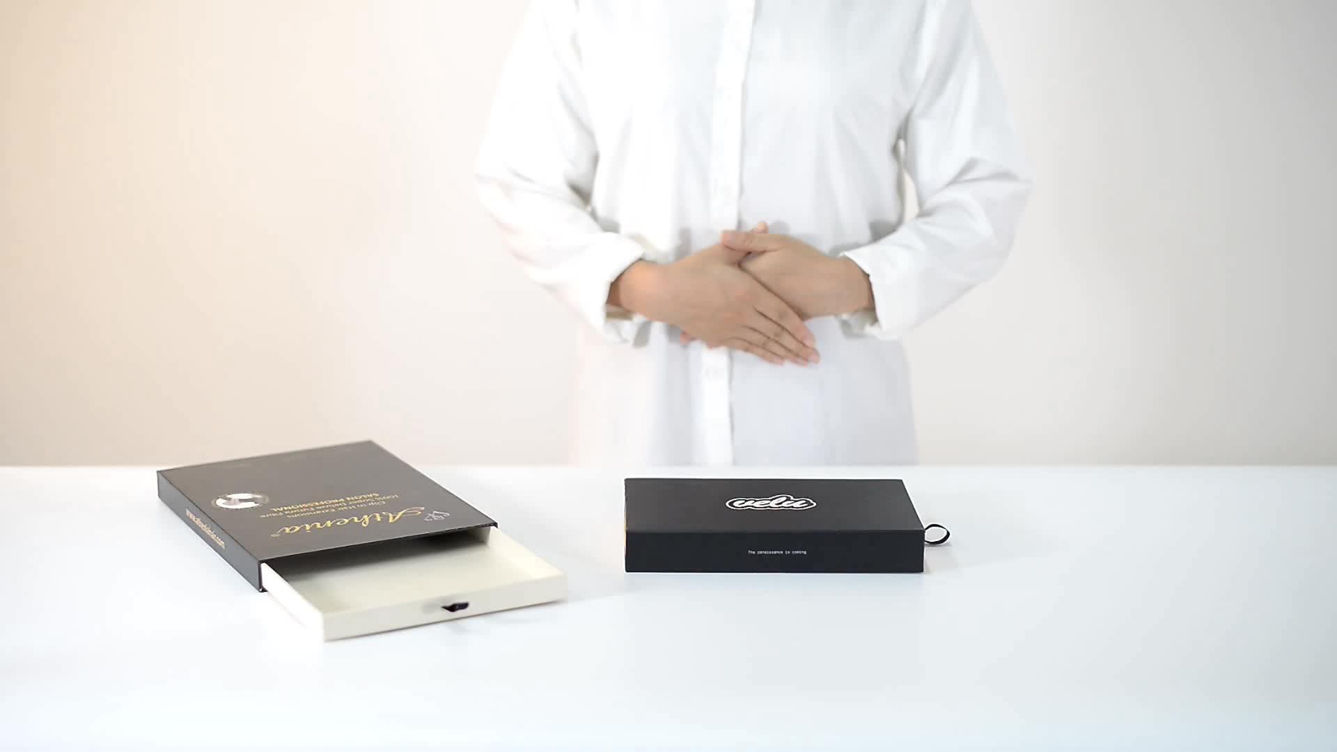 Custom Recycle Printing Black Hard Rigid Cardboard Luxury Paper Sliding Box With Ribbon
