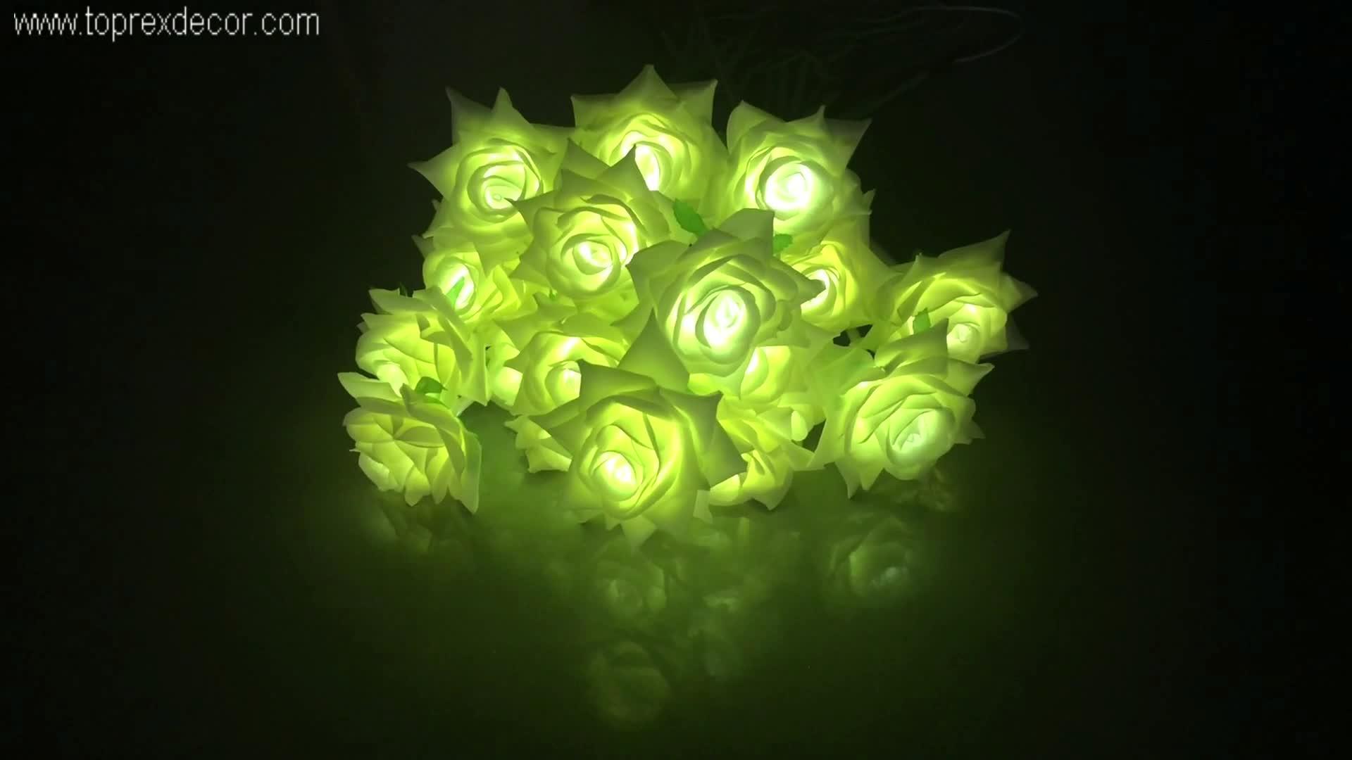 Toprex saint-valentin ramadan noël décor PU de haute qualité ip65 matériel led artificielle rose fleur lumières avec tige