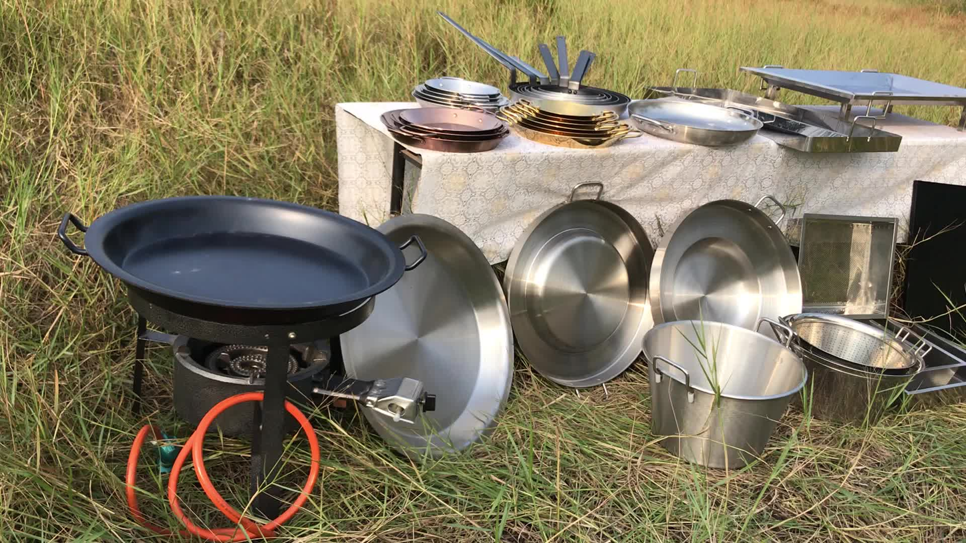 High quality outdoor kitchen barbecue easy-clean aluminum stainless steel fry pan