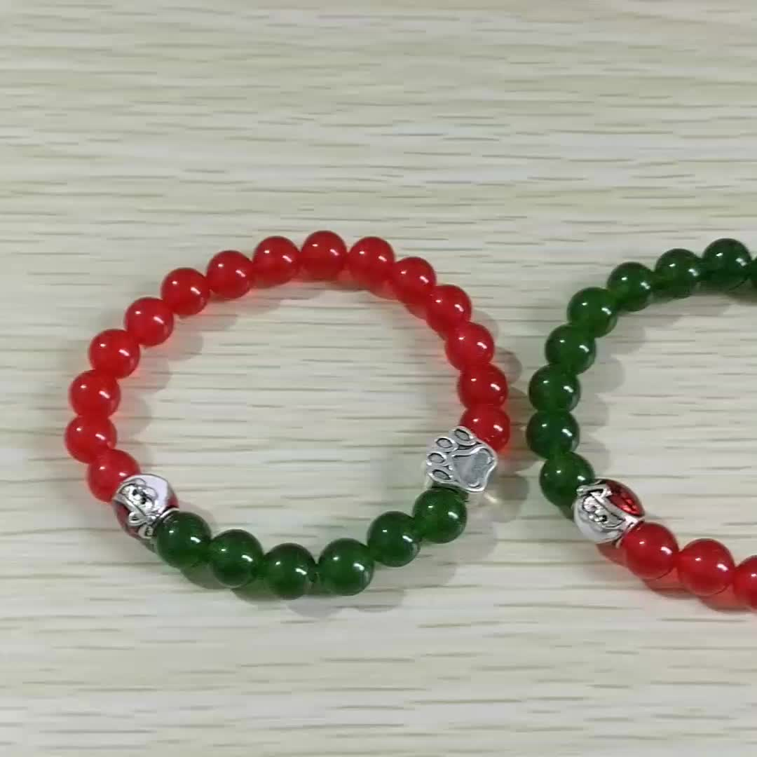 2019 Fashion Jewelry Dog Bead Bracelet Natural Stone Red And Green Jade Paw Santa Claus Christmas Bracelet For Couple
