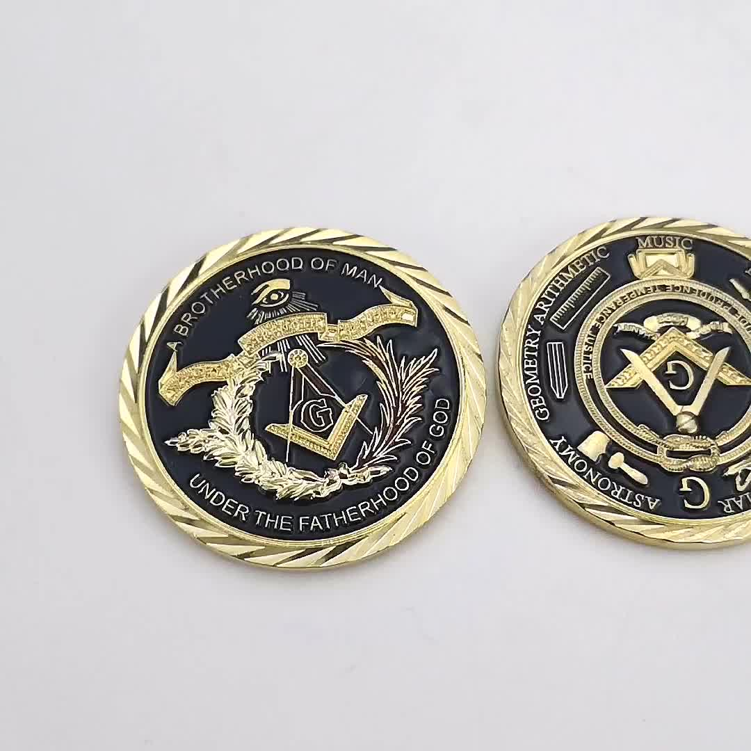 Custom stamping engraved brass metal gold plated challenge masonic coin