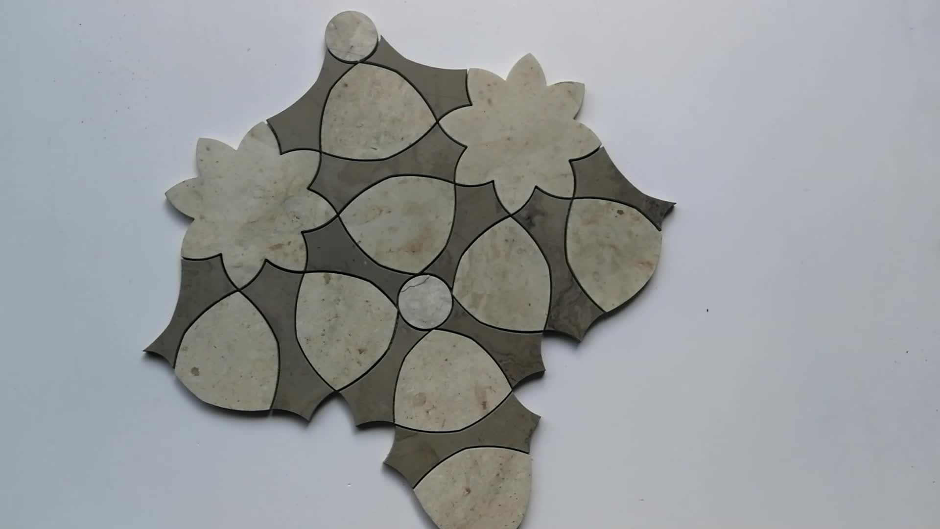 Self Adhesive Tans Stone Waterjet Mosaic Interior Self Adhesive Wall Tile