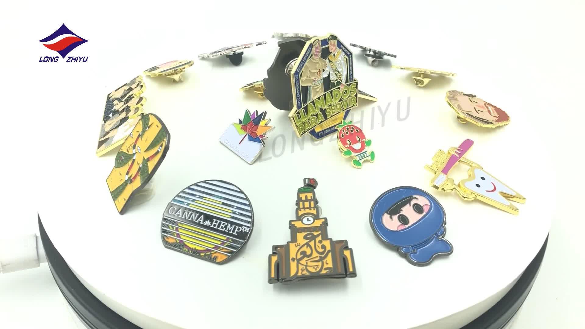 Longzhiyu 13 Anos Fabricante venda Quente personalizado oco personalizado emblema do metal pin de lapela esmalte macio Prata/banhado a Ouro emblema pinos