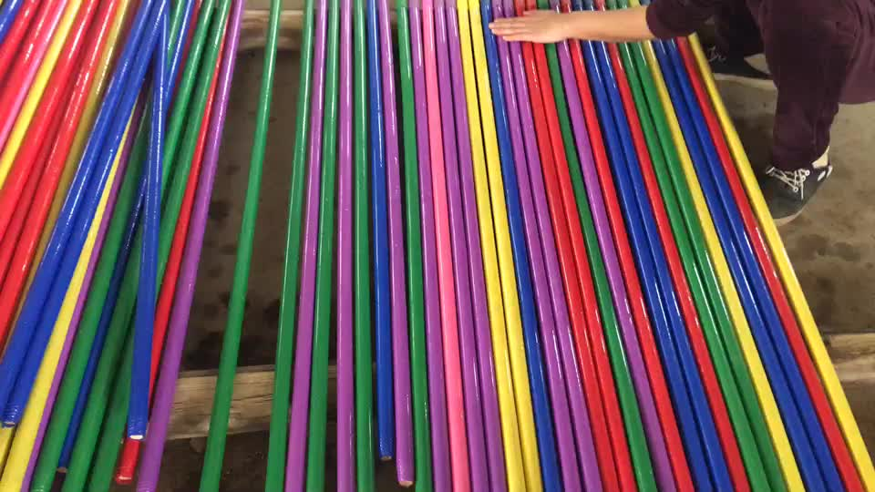 Printing PVC Coated Wood Broom Handle/PVC Mop Stick