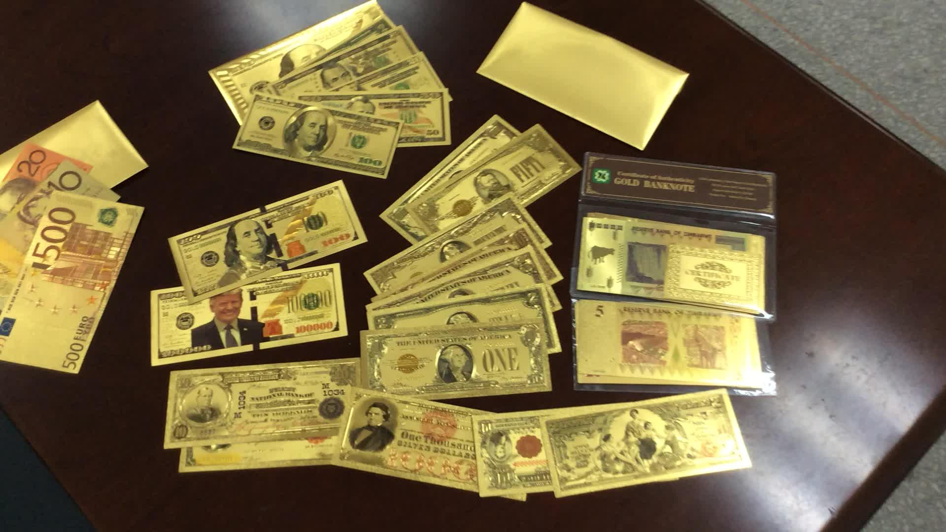 24k $100 달러 통화 빌 순수한 금 도금 지폐