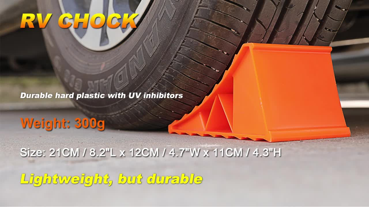Yellow plastic truck RV chock Trailer Wheel chock for keeping RV or trailer in place