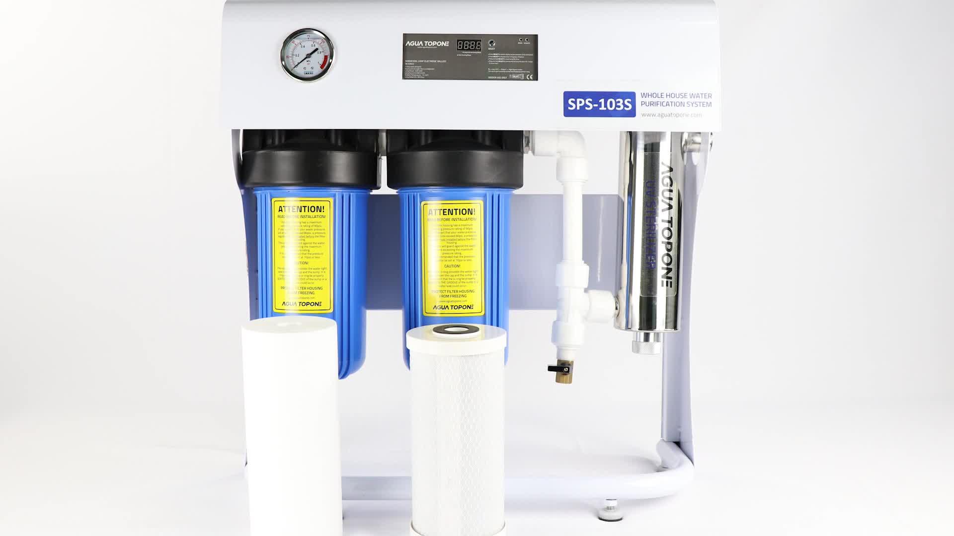 China beste water filter systeem 3 podium met UV licht met stalen beugel en druk meter