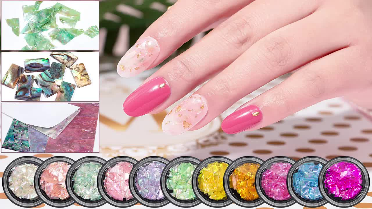 15 Colors 4*7 cm Self-adhesive Thin Nail Shell Sticker Decal