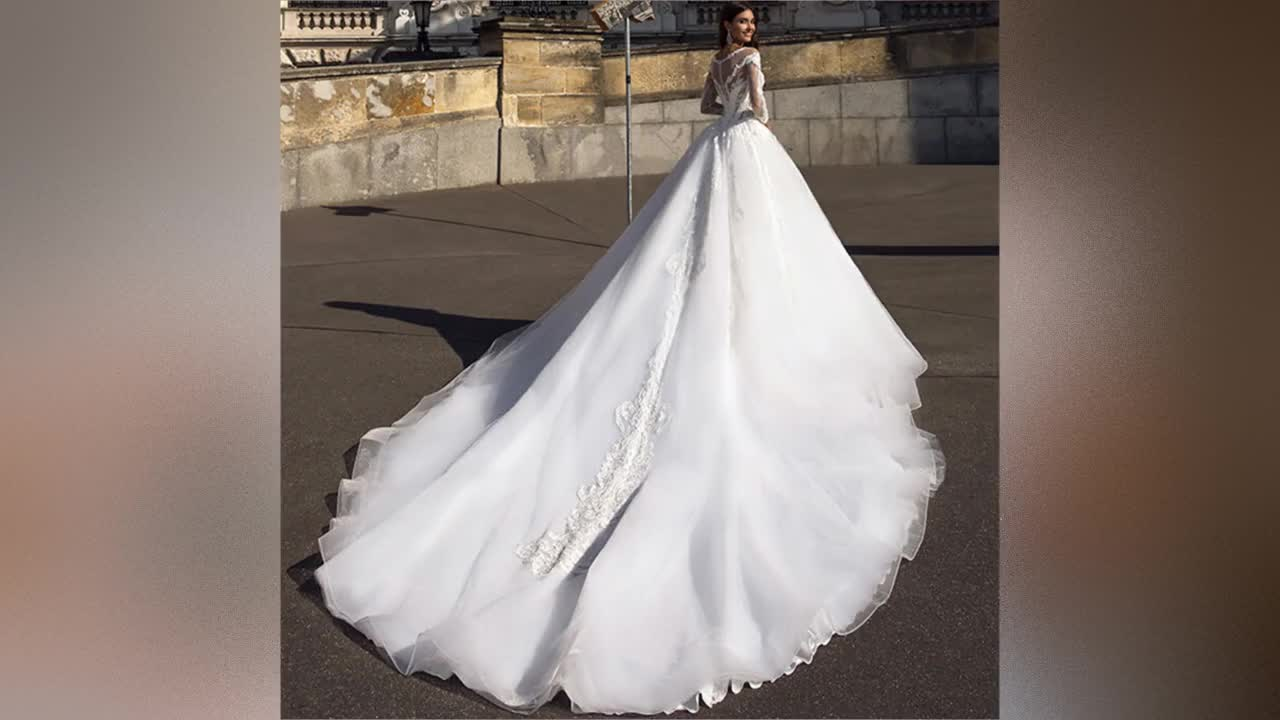 Long Sleeve Wedding Dress 2019 Ball Gown Bridal Gown Africa Wedding Gown Muslim Bridal Wedding Dress Lace Bridal Dress A272