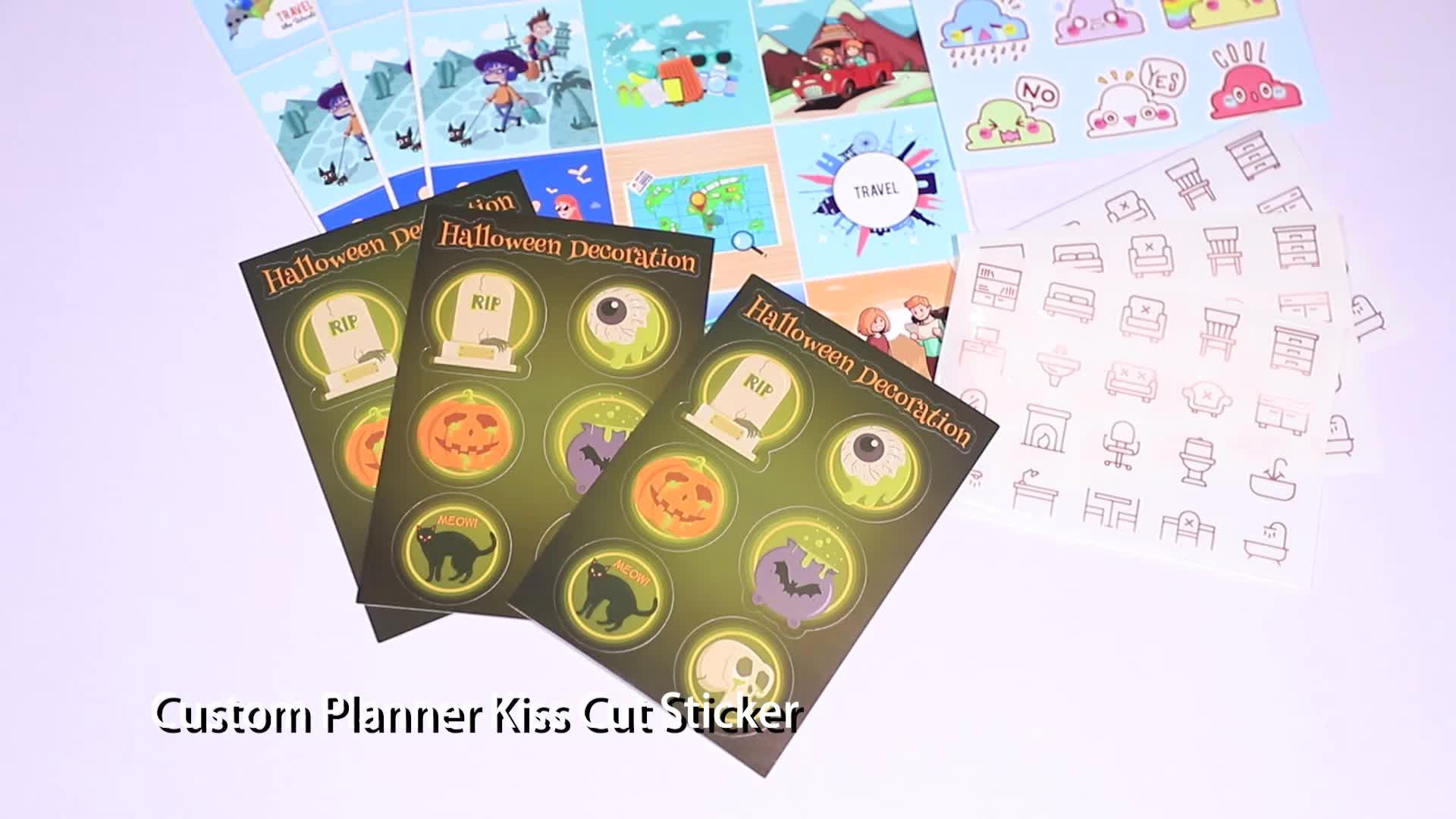 Custom Design Adhesive Aufkleber Benutzerdefinierte Blatt Kuss Cut Aufkleber Für Planer