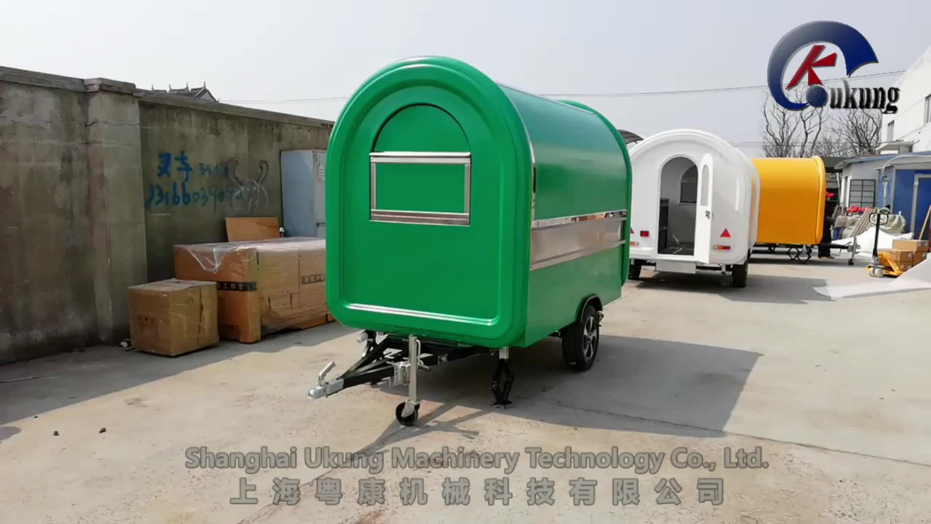 UKUNG new style mobile food truck with updated window and SS inside wall, mobile burger truck