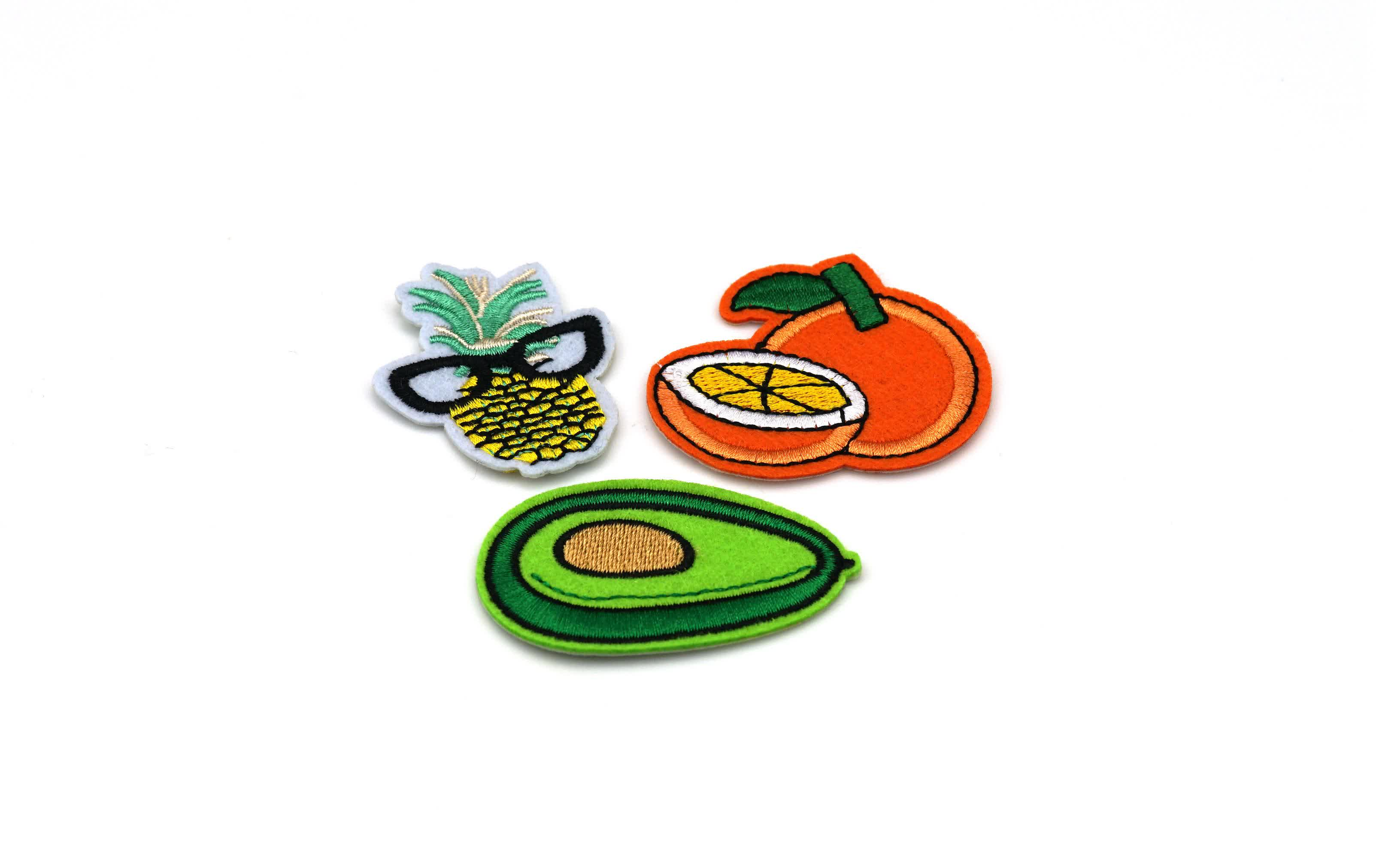 High Quality Avocado Custom Embossed Leather Orange Cute Fruit Shape Chenille Janome Patches Embroidery