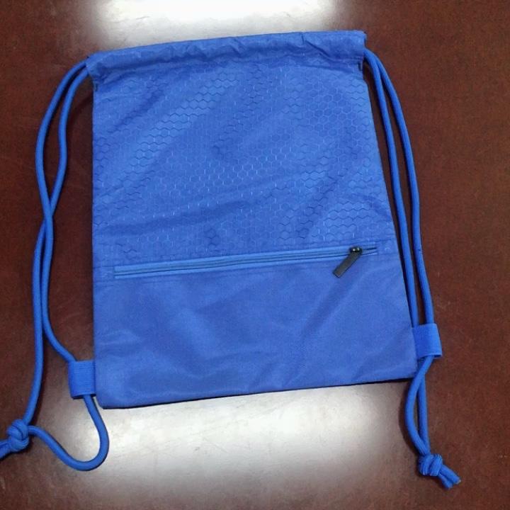 Logotipo personalizado 100% à prova d' água saco de cordão de poliéster com bolso com zíper