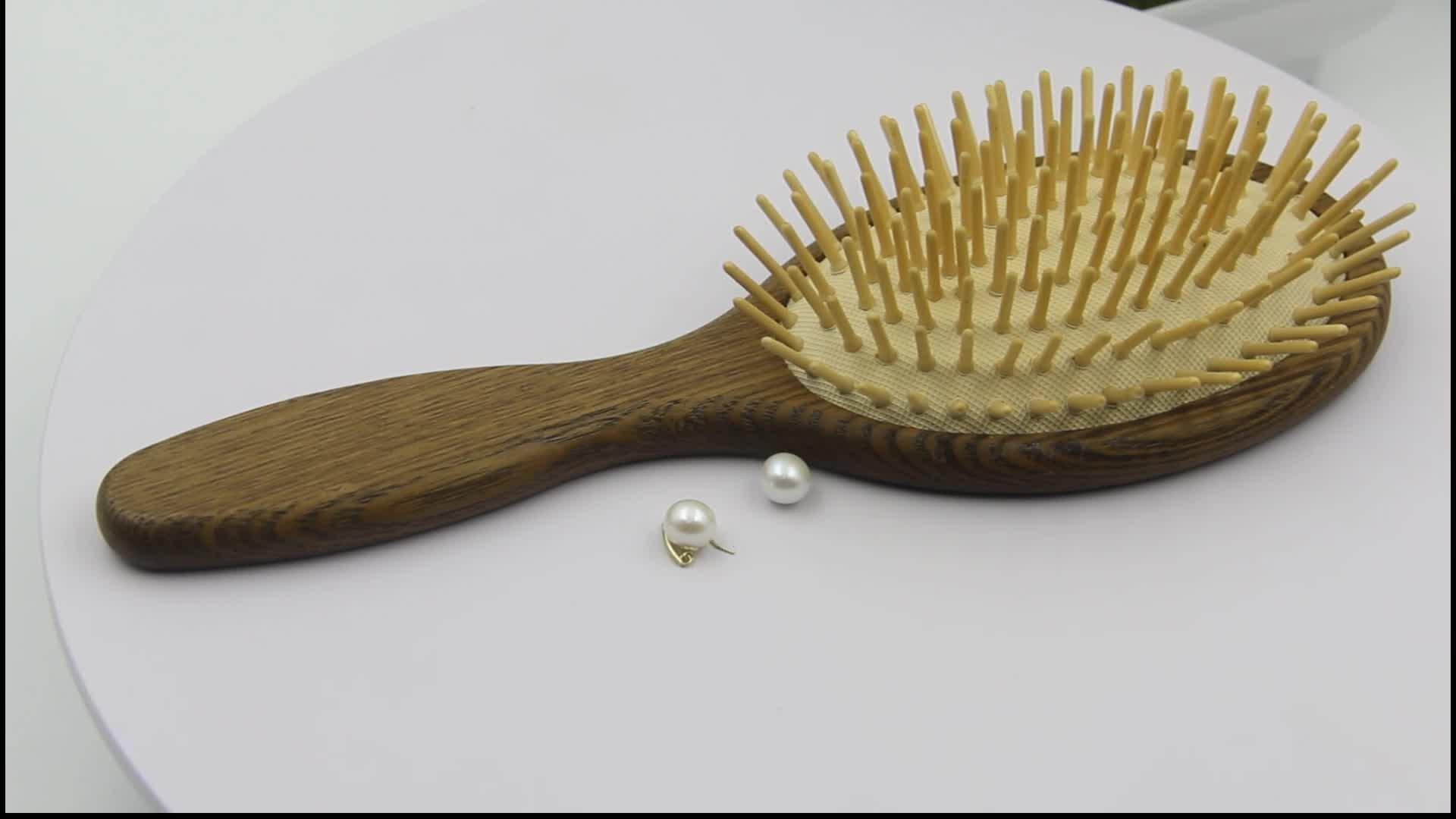 Custom Private Label Paddle Wooden Hair Brush, Personalized Detangling Hair Brush