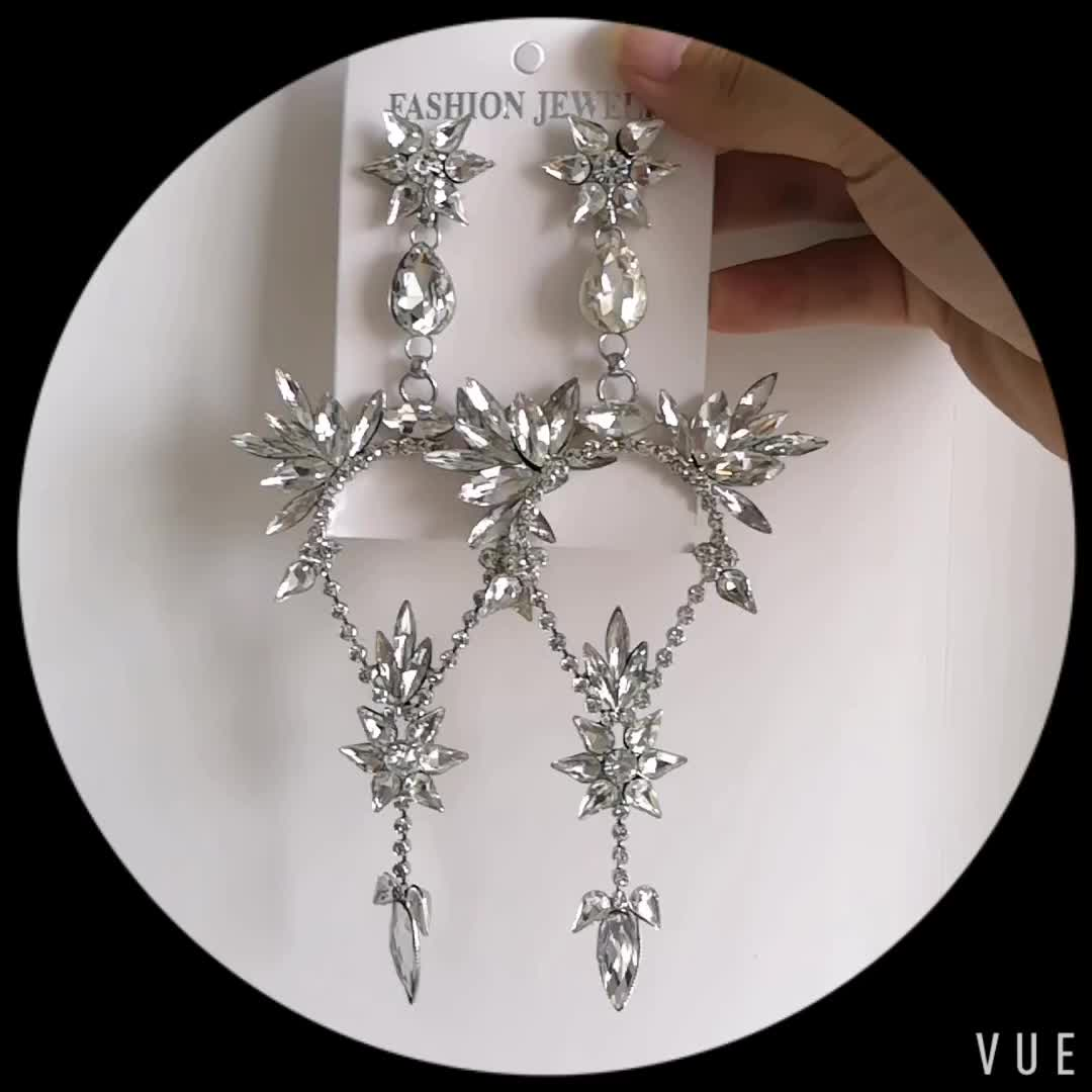 2018 Women Jewelry Personality Creative Exaggerate Large Crystal Drop Earrings
