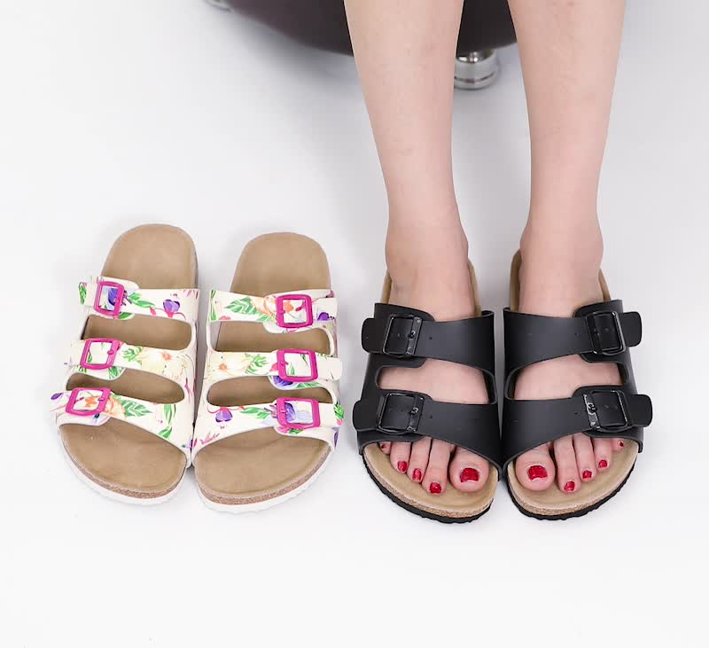 Wholesale Prime Quality Two Straps Women Cork Leather Sandals