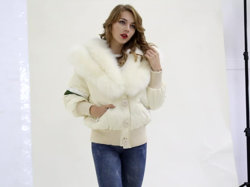 winter fox fur collar down jacket custom women hooded down jacket