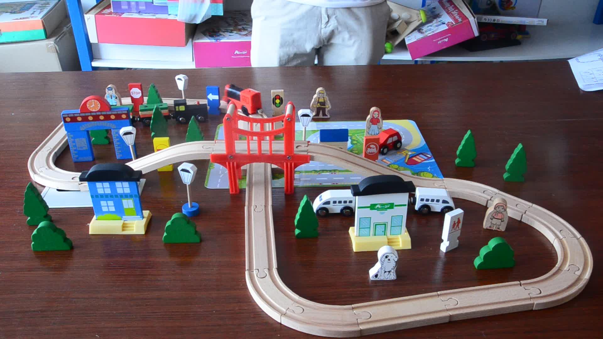80pcs classic wooden kid baby toys train track set railway