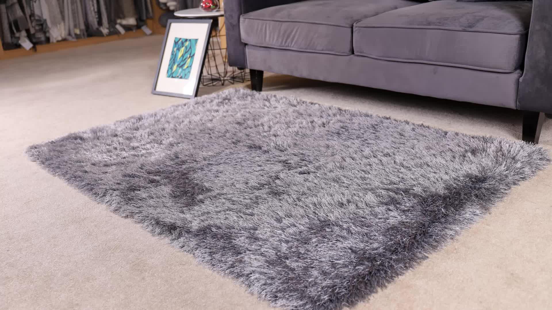 Pemasok Yang Baik Abu-abu Polyester Kontemporer Persegi Panjang 3D Shaggy Area Rug Karpet